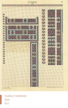 Gorj Decoration Folk Embroidery, Embroidery Patterns, Sewing Patterns, Cross Stitch Borders, Cross Stitch Patterns, Palestinian Embroidery, Rainbow Colors, Embroidery Techniques, Decoration