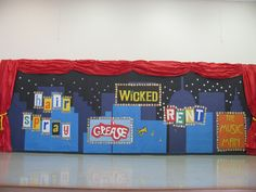 "4th grade school play ""Broadway Beat"" set designed and created by art teacher: Susan Joe"