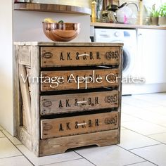 1985 chest of 4 drawers: rustic by vintage apple crates, rustic Vintage Chest Of Drawers, Small Chest Of Drawers, Crate Storage, Small Storage, Recycled Furniture, Cool Furniture, Industrial Furniture, Furniture Ideas, Wooden Crates