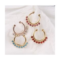 1P Non Piercing Fake Clip On Septum Clicker Hanger Nose Ring Hoop Gold... via Polyvore featuring jewelry, cubic zirconia jewelry, yellow gold jewelry, gold body jewelry, body jewelry and gold jewellery