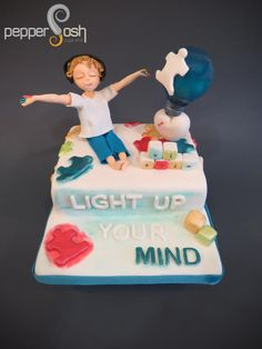 Light Up Your Mind! - @SugarArt4Autism Collaboration - Cake by Pepper Posh