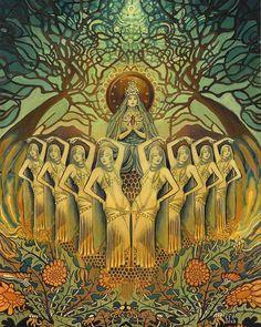 This strikes me as Art Nouveau not Art Deco. Bee Goddess Art Deco Pagan Honey Queen by EmilyBalivet on Etsy Art Deco, Art Nouveau, Art Du Monde, Pagan Art, Goddess Art, Goddess Pagan, Pagan Gods, Moon Goddess, Bee Art