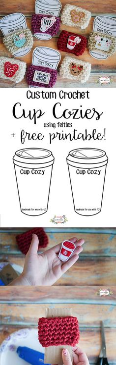 Make these cute custom crochet cup cozies in 15 minutes or less! Perfect for stuffing stockings, teacher gifts, or holiday party favors. Don't miss the free printable too! | Free pattern from Sewrella