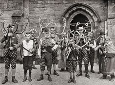 """Abbots Bromley Horn Dance (1900) Click to view 2412×1791. The Abbots Bromley Horn Dance is an English folk dance, which dates back to the Middle Ages. The dance takes place each year in Abbots Bromley, a village in Staffordshire, England. The modern version of the dance involves reindeer antlers, a hobby horse, """"Maid Marian,"""" and a Fool."""