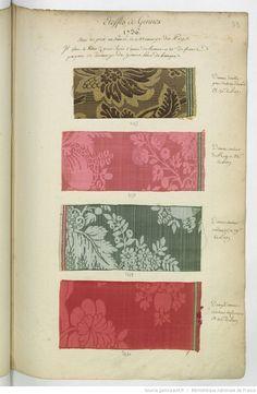 Etoffes de Gennes // 1736 // avec les prix en Taux et Monnoye du Pays : [échantillons de tissus]