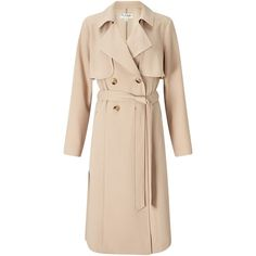 Miss Selfridge Crepe Mac, Camel (£55) ❤ liked on Polyvore featuring outerwear, coats, jackets, long sleeve coat, miss selfridge coat, beige coat, print coat and lightweight coat