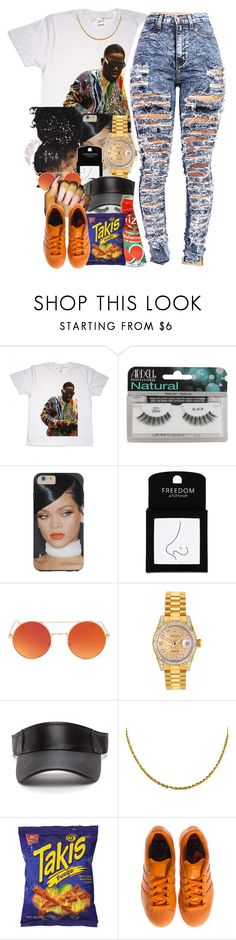 """""""Dont-bryson tiller"""" by thaofficialtrillqueen ❤ liked on Polyvore featuring Ardell, Topshop, Rolex, Fuego and adidas"""