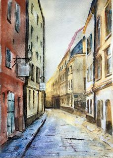 Finer Forms - The Art of Jani Finér: Morning alley, watercolor, size A3
