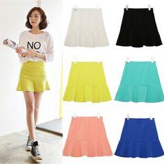 neon 2014 nova moda saias para mulheres cores doces mini saia cintura alta vestido de verão mini-saias 6 cores frete grátis 7.89
