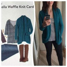 Abriella Waffle Knit Cardigan in Teal (and totally dressed down with leggings and a tank) by Pixley.