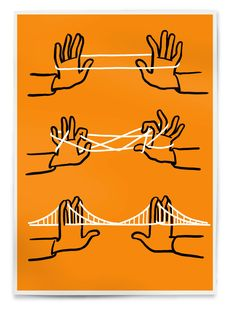 Brooklyn Bridge (orange&black&white)  Edition of 50, signed and numbered   3 color silkscreen, 60cm x 42cm /24in x 16in  Paper Munken Pure 170g/m2  220€ / 250$ Order http://right-now.me/brooklyn-bridge-orange.html