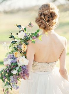 messy wedding chignon updo hairstyle - Deer Pearl Flowers