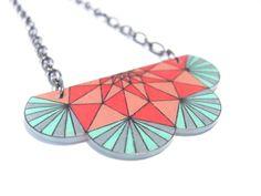 geometric shrink plastic necklace