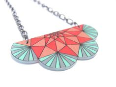 geometric shrink plastic necklace by LinesNShapesJewelry on Etsy