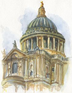 Items similar to St Paul's Cathedral, London watercolour painting on Etsy Renaissance Architecture, Urban Architecture, Buildings Artwork, London Painting, Anglican Cathedral, Building Drawing, Urban Sketching, London City, Baroque