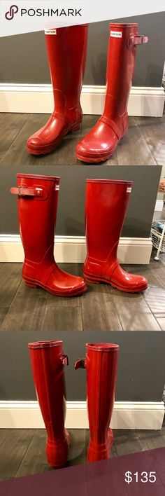 Original Tall Gloss Rain Boots Only worn twice. I'm not interested in trades at this time. Hunter Boots Shoes Winter & Rain Boots