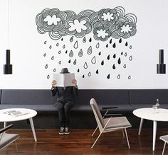 Doodle Clouds  Wall Sticker by VinylizeWallStickers on Etsy