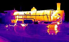 Thermal image of steam locomotive made by IR camera.By Jagokogo (Own work) [CC BY-SA via Wikimedia Commons Safety Inspection, Thermal Imaging Camera, Infrared Heater, Sucker Punch, Steam Locomotive, Model Trains, Embedded Image Permalink, Real Life, Neon Signs