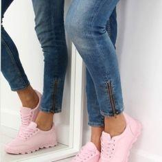 Ružové dámske športové tenisky s hrubšou podrážkou1 Wedges, Sport, Jeans, Sneakers, Fashion, Tennis, Moda, Deporte, Slippers