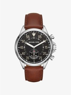 Gage Silver-Tone and Leather Hybrid Smartwatch
