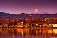 Moonset Over The Rockies by kkart.deviantart.com Sloan's Lake, Colorado, USA.