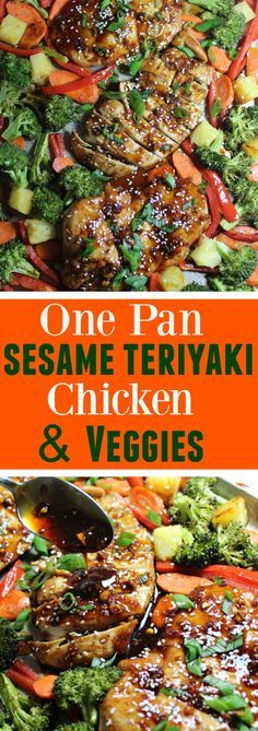 This Sheet Pan Sesame Teriyaki Chicken with Veggies makes for a perfect easy weeknight dinner. One pan is all you need to bake the moist chicken breasts drizzled with homemade asian sauce and crunchy veggies.