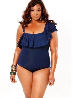 fbdb128179c Espana One Shoulder Ruffle Plus Size Swimsuit - Navy - Swimwear - Monif C