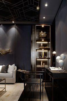 Dark walls balanced with light furniture #Mylane