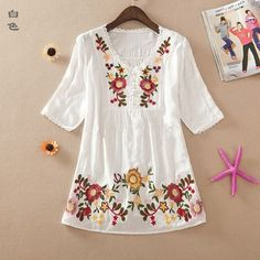 New 2016 summer embroidery style women clothes cotton shirts plus size casual blusas femininas shirt blouses Vintage Embroidery, Embroidery Dress, Embroidery Designs, Crewel Embroidery, Japanese Embroidery, Embroidery Kits, Boho Bluse, Moda Casual, Blouse Designs