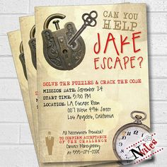 Solve with clues with this Escape Room Party invitation! Invite your friends and family to your party with this awesome Escape Room theme, lock and key printable invitation. Choose from Red, Hot Pink or Teal color options. This 5 x 7 digital file will be personalized with your