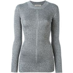 Christopher Kane lurex long sleeve crew jumper ($670) ❤ liked on Polyvore featuring tops, sweaters, grey, print sweater, gray crew neck sweater, long sleeve jumper, metallic sweater and crew sweater