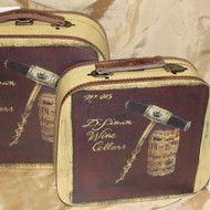 "Decoratiuni vintage - Set cutii valize ""Wine"""