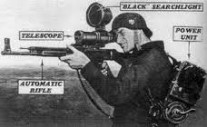 Developed by the Germans in WW II, this is the first operational Night Vision Scope (more like a Starlight Scope) early 1945.