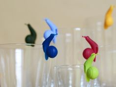 The folks at Soul Fun Design have created these whimsical 'Party Snails', the perfect glass marker for parties. The snails also make a great tea bag holder Wine Glass Markers, Food Sculpture, Chopstick Rest, 50th Party, Wine Glass Charms, For Your Party, Wine Drinks, Decorative Objects, Tea Party
