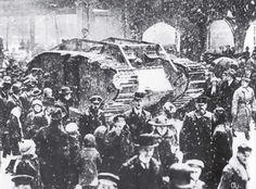 In early 1918 through the streets of Berlin held a disarmed tank captured Mk IV in order to boost the morale of the Germans (note the expanders trucks caterpillars). After a year the same Mk IV on the streets of Berlin of the same the same the...