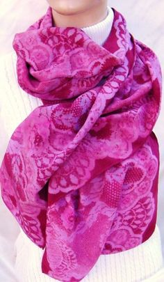 hand painted silk scarf large Burgundy Lace Rose | morgansilk - Accessories on ArtFire