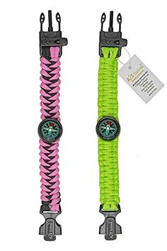 A2S Survival Gear Kit Paracord Bracelet for Girls Colorful Everest Series with built-in New Type Compass, Fire Starter, Emergency Knife & Whistle - Pack of 2 - (Pink / Light Green) - TESTED FOR EXCELLENCE:Has been tried & tested to a minimum breaking point of 550lbs/250kg. Deploy your 12 FEET OF PARACORD in any situation where an extremely strong rope or cordage is needed.. The PINK - LIGHT GREEN COLOR Combination has exclusively been designed for women and fit smaller wrist sizes up to…