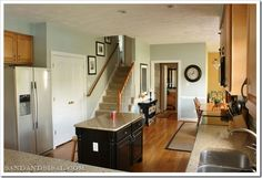 Gray, Grey or Greige {Finding the Perfect Gray} Light Blue/Green Gray Sand & Sisal's Kitchen/Family Room – Sherwin Williams Comfort Gray Sisal, Sherwin Williams Comfort Gray, Command Center Kitchen, Oak Trim, Interior And Exterior, Interior Design, Kitchen Remodel, Kitchen Reno, Kitchen Ideas