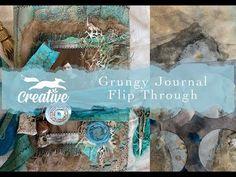 Grungy Journal Flip Through - YouTube Flipping, The Creator, Creative, All Video, Junk Journal, Journals, Mixed Media, Tutorials, Youtube