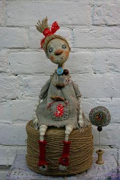Купить Авторская кукла Пугалко - серый, красный, оберег, авторская кукла, пугало, Папье-маше: