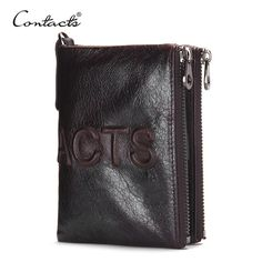 Buy now CONTACT'S 2017 New Brand Design Fashion Men Wallet Zipper Pureses famous brand Genuine Leather Short Wallets Clutch Coins Bags just only $14.57 with free shipping worldwide  #walletsformen Plese click on picture to see our special price for you