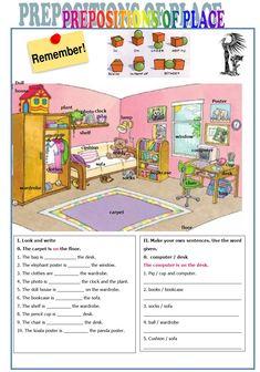 Výsledek obrázku pro prepositions of place worksheet