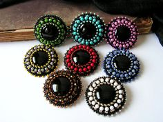 Black onyx cabochon brooch Bead embroidery Brooch Beadwork brooch Bead embroidered jewelry MADE TO ORDER