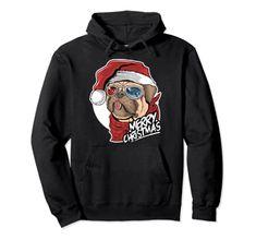 Merry Christmas Cute Pug Dog Wearing A Santa Hat Pullover Hoodie Christmas Dog Merry Christmas, Christmas Dog, Christmas Humor, Funny Christmas Shirts, Pullover Hoodie, Cute Pugs, Dog Wear, Santa Hat, Xmas Gifts