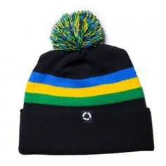 Retro style pom beanie from Concrete Coast Clothing.    Made in USA with eco-friendly water based inks.