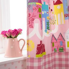 Home Sweet Home is an adorable childrens fabric collection from Prestigious Textiles, featuring charming patterns and motifs for boys and girls Home Curtains, Curtains With Blinds, Prestigious Textiles, Roman Blinds, Modern Prints, Textile Design, Clean House, Cleaning Hacks, Pink Flowers