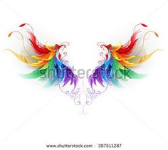 Illustration about Fluffy rainbow wings on a white background. Illustration of feathered, gothic, creative - 67444615 Alas Tattoo, Back Tattoo, Feather Art, Feather Tattoos, Fairy Wing Tattoos, Unicorn Tattoos, Mini Tattoos, Body Art Tattoos, Pride Tattoo