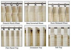 Drapery Heading Styles for Custom Panels: custom made drapery panels can be made with a variety of drapery heading styles. Pinch Pleat - 3 and 2 fold Relaxed Pleat Flat/Plain Top Natural Pleat Grommet Rod Pocket inches. Pinch Pleat Curtains, Pleated Curtains, Curtains With Blinds, Drapes Curtains, Valances, Types Of Curtains, Cafe Curtains, Custom Curtains, Drapery Styles