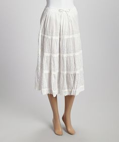 Another great find on #zulily! White Drawstring Peasant Skirt - Women by Advance Apparels #zulilyfinds