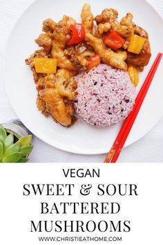 Sweet & Sour Battered Mushrooms. Crispy on the outside, flavourful and chewy on the inside. Vegan and dairy-free! Pairs really well with some jasmine rice. Perfect for dinner or lunch. #dinner #mushrooms #sweetandsour #vegan #lunch #meatlessrecipes